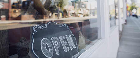 Open sign in window.