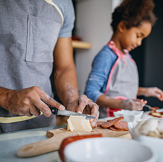 Family preparing food.